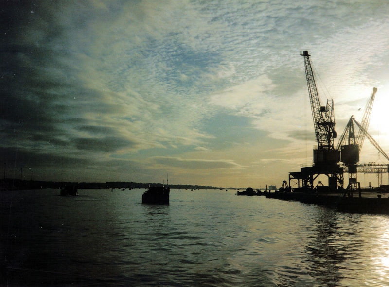 Cable Boat Clouds Crane Dock Yard Harbor Harbourfront Poole Harbour Rippled Silhouette Sky Sunset Tranquility Water Waterfront Working At Sea Working Boat