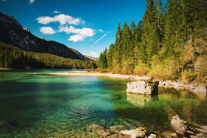 The colors of nature. Tranquil Scene Water Scenics Mountain Lake Sky Non-urban Scene Idyllic Beauty In Nature Blue Calm Cloud - Sky Day Green Val Di Non Trentino  Trentino Alto Adige Landscape