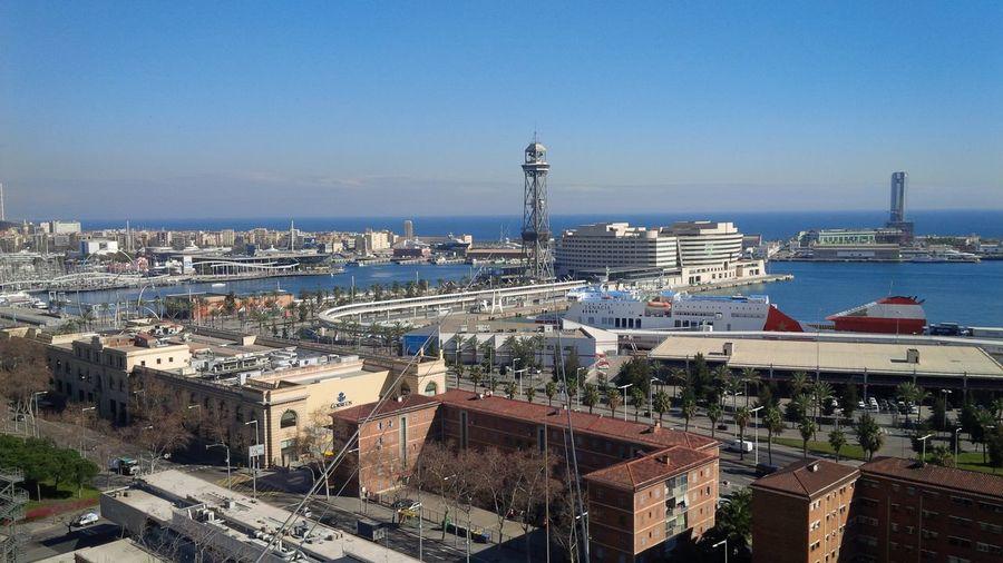 High angle view of port city