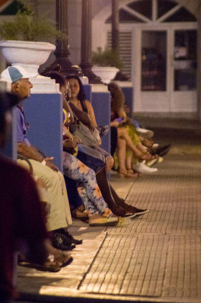 Cuba, noviembre 2016; new and updated photos: Night Photography WIFI Zone Architecture Building Exterior Day Full Length Lifestyles Men Night One Person Outdoors People Real People Sitting Women Young Adult