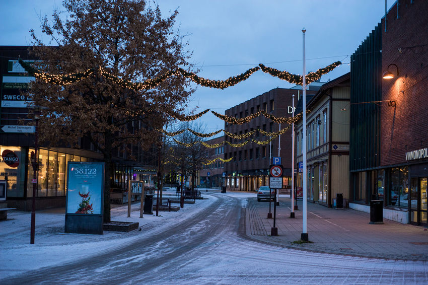 Early. No people Norway Architecture Building Exterior Built Structure City Cold Temperature Early Morning Illuminated Main Street No People Outdoors Porsgrunn Road Snow Street Light Telemark The Way Forward Tree Winter Shades Of Winter
