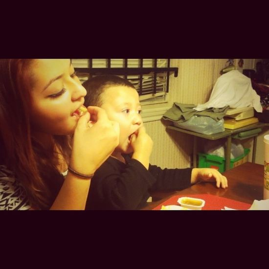 eating with my little baby <3