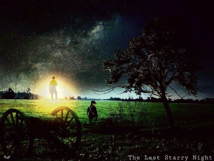 This is 4 of my photographs added to this piece called The Starry Night captured by a man from his window of an insane asylum. My edit names it The Last Starry Night. Art Remake The Last Starry Night