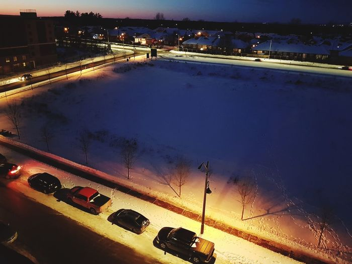 Winter dusk. Snow Snowy Night Winter Night Lonely Tranquil Scene Streetphotography Winter Wonderland Wintertime Winterscapes Winter Landscape Ottawa Canada Winter Canada Dusk Winter Dusk Water Car No People Outdoors Land Vehicle Road