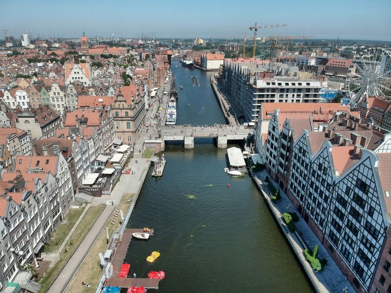 Gdansk Old Town near Motlava River from above Gdańsk. Gdansk Old Buildings Old Ruin Architecture Poland Gdansk_official Motlawa River Motlava River Gdańsk. Industrial Industry Bulding Built Structure Historical Building River View Birdeyeview Gdansk (Danzig) Motława City Cityscape Water Sea Nautical Vessel High Angle View Architecture Sky Building Exterior Harbor Commercial Dock Marina Crane - Construction Machinery