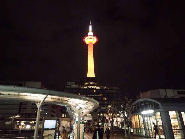 Kyoto Japan Kyoto Tower Lightup Happy New Year Early Morning Olympus PEN-F 京都 日本 京都タワー 元旦バージョン 謹賀新年 早朝