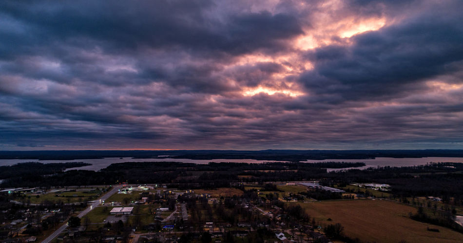 The new winter sky turns an eerie purple before sunset over a lake in southern Illinois. Cloud - Sky Sky Building Exterior Architecture Built Structure Nature Sunset No People Cityscape Scenics - Nature Beauty In Nature High Angle View Environment Residential District Outdoors Dramatic Sky Overcast Drone  Dronephotography Aerial View Aerial Aerial Photography Town Colors Illinois