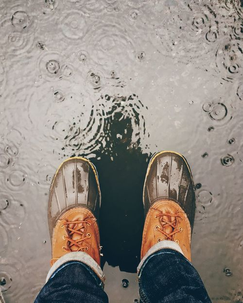 LL Bean Rain Rainy Days Water Reflections Bean Boots Canvas Shoe Close-up Day Directly Above Droplets High Angle View Human Body Part Human Foot Human Leg Lifestyles Low Section Men One Person Outdoors People Personal Perspective Real People Shoe Standing Water