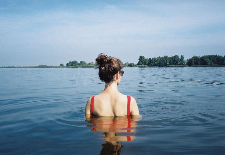 35mm 35mm Film Analogue Photography Film Nature Summertime Swimming Tranquility Woman Facing Away Film Photography Filmisnotdead Lake Leisure Activity Lifestyles Nature One Person Outdoors Real People Sky Summer Vacations Water Waterfront Women