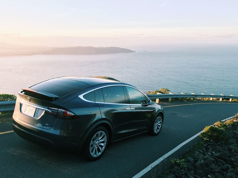 The Future Is Electric // Tesla Tesla Motors Tesla Model X // Car Transportation Mode Of Transport Land Vehicle Sky Road Sunset No People Outdoors Day Racecar Police Car