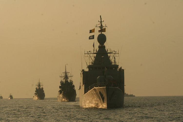 Ships on sea against clear sky