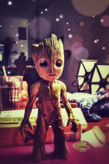 Guarding...my galaxy✨🌱🚀😃 Tadaa Community Getting Creative Indoors  Childhood Night No People Close-up IPhoneography GUARDIANSOFTHEGALAXY Toy Groot Clutter Science Fiction