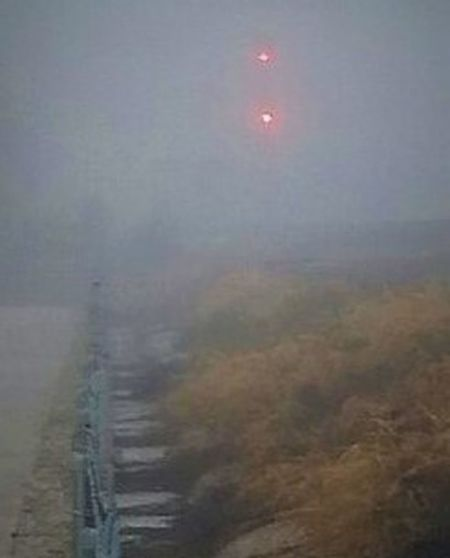 Fog Foggy Foggy Morning Nature No People Outdoors Railroad Lights Stop Light