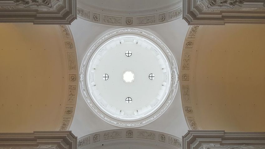 Ceiling Church Cupola Low Angle View Symmetry Building Salzburg Austria Roof Light Circle Arch Architecture Monument Kollegienkirche