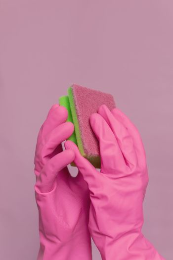 Sponge Cake Art And Craft Clean Cleaning Washing Up Glove Gloves Homework Homework Time Art Pink Color One Person Studio Shot Human Hand Human Body Part Indoors  Pink Background Protection Protective Workwear Safety Glove