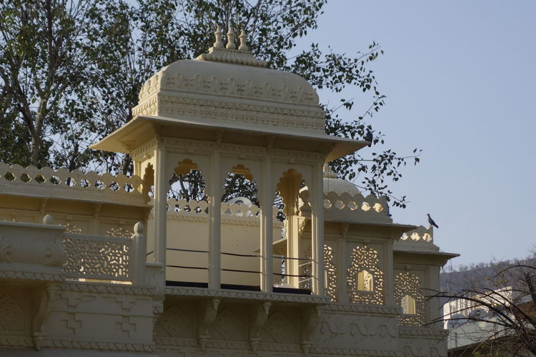 Low angle view of ornate building against clear sky