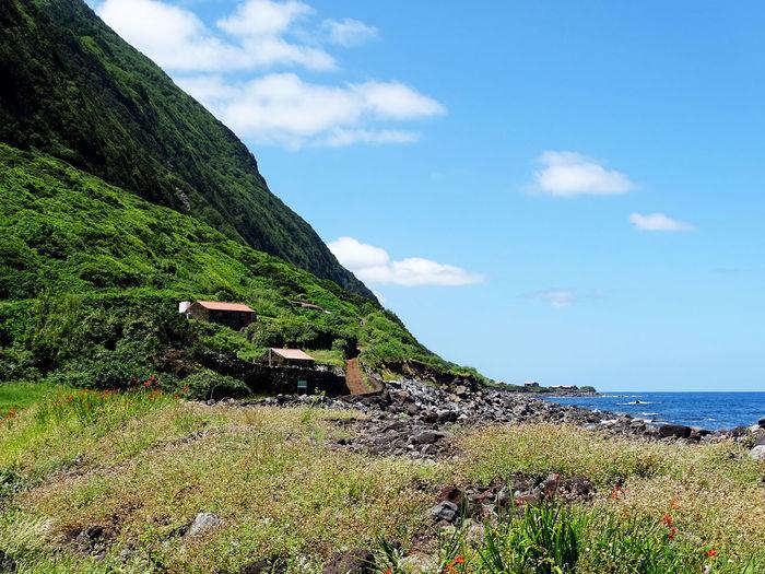 Azores Beauty In Nature Water Mountain Sea Beach Blue Tree Sky Grass Cloud - Sky Landscape