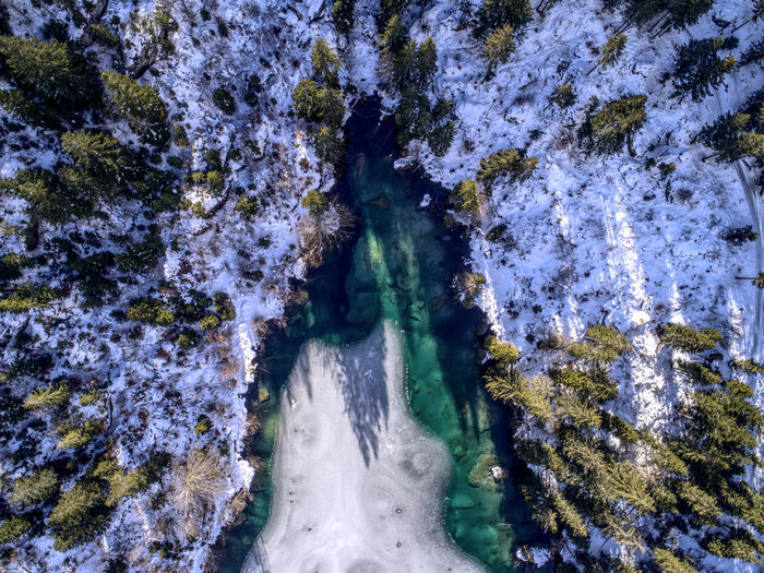 Frozen Ice Winter Beauty In Nature Birdseyeview Bluewater Dronephotography High Angle View Lake Nature No People Outdoors Rock