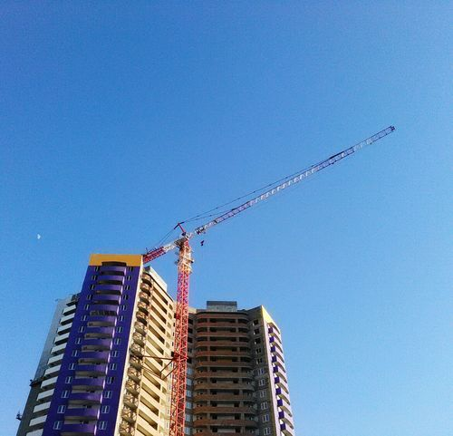 New house, construction, crane, moon, beautiful modern building, landscape, meet by chance, violet