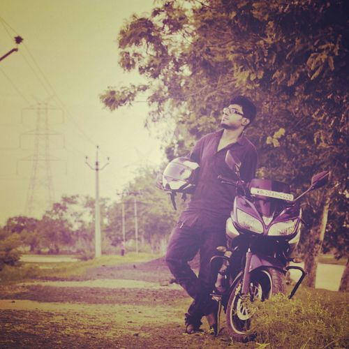 Evening Yamaha Fazer Along The Road Standing Alone Enjoying Nature Timepass Faraway Biker Style ✌