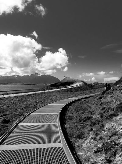 Along the famous Atlantic OceanRoad Architecture Black & White Black And White Black And White Photography Black&white The Architect - 2016 EyeEm Awards Traveling Bridge Bridgeporn Landscapes With WhiteWall Bw Curves Famous Place International Landmark Landmark Landscape Leading Leading Lines Architecture_bwTravel Road Showcase: December Sky Atlantic Ocean Road Transportation