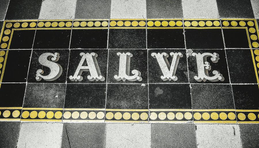 Salve Tiling Tiling Art Art Floor Floortraits No People No Peoples No Person No Persons Ground Hello HelloEyeEm Hello ❤ Hello EyeEm Entrance Entranceway One Color Onecolor Onecolorphoto Onecolour One Color Background Background Backgrounds Background Photography Full Frame Text Capital Letter Textured  Written