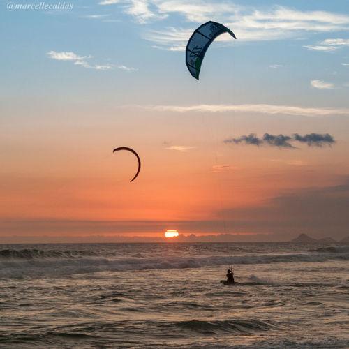 Sport In The City Rio De Janeiro Barra Da Tijuca, Rio De Janeiro Beach Photography Sunset Sunset_collection EyeEm Best Shots - Sunsets + Sunrise Kitesurfing Kite Adventure Club This Is Latin America