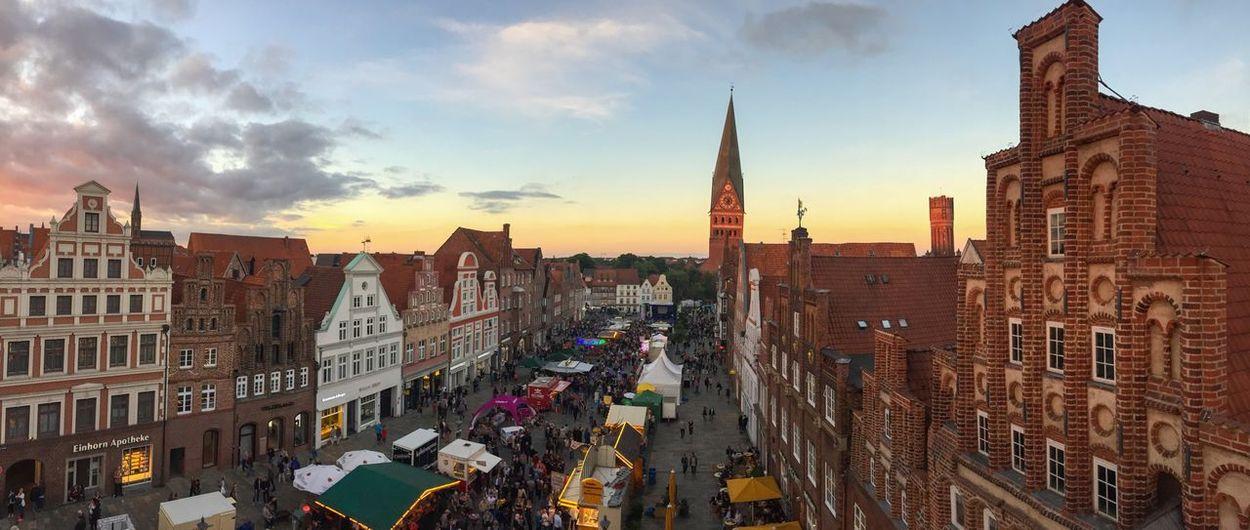 Lüneburg Stadtfest Old Town Festive Season Am Sande Golden Hour Birds Eye View St. Johanniskirche