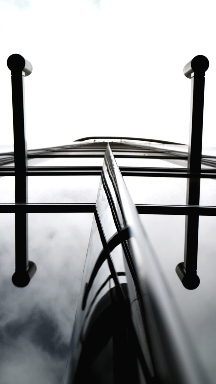 railing, no people, low angle view, day, close-up, indoors, architecture
