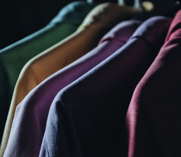 Close-up of multi colored clothes hanging