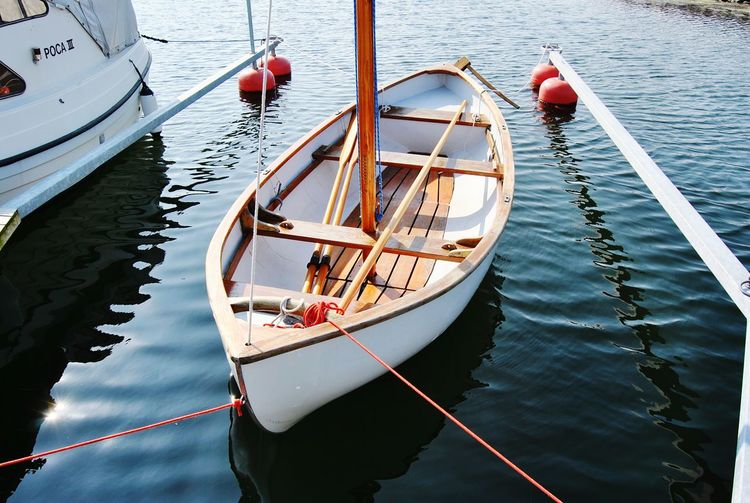 Moored boat in rippled water
