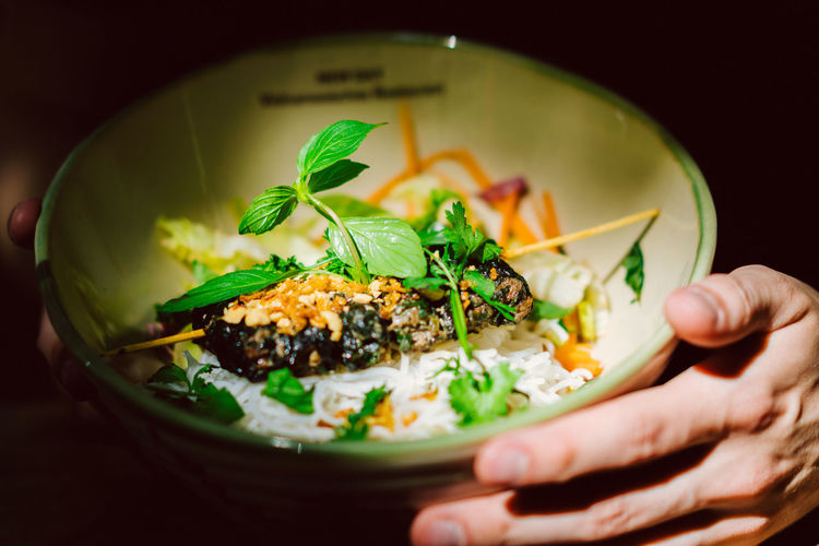 Bun Cha La Lot Bowl Close-up Day Food Food And Drink Freshness Garnish Healthy Eating Human Body Part Human Hand Indoors  One Person Plate Ready-to-eat Real People Vegetable Vietnam Resturant Vietnamese Food