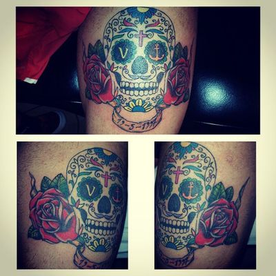 FINISH!!! Complete Roses Skull Mexicanskull Calavera  Tattoskull Tattoos Tattoo Ink Inked Love Passion Like Family Grandfather Nonno Soloperte Persempreconme Toptattoo Tattoosofinstagram Tattooart
