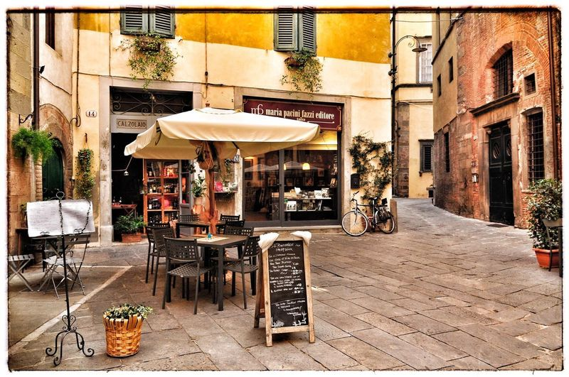 Restaurants Square Lucca Italy Building Exterior Built Structure Architecture Seat Chair City Auto Post Production Filter Restaurant Street Table Outdoors
