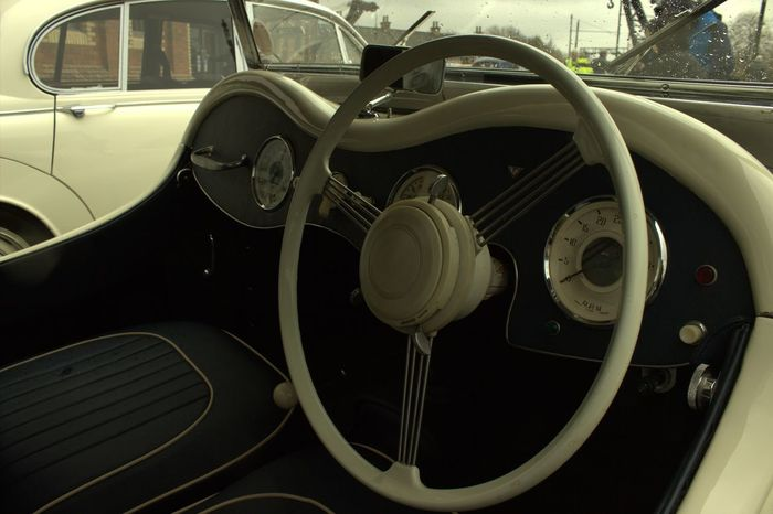 Land Vehicle Old-fashioned Car Retro Styled Collector's Car Close-up Steering Wheel Vintage Car Windscreen Vehicle Interior Windshield Wiper Car Point Of View Dashboard Speedometer Vehicle Part Car Interior Vehicle Seat Rear-view Mirror Side-view Mirror
