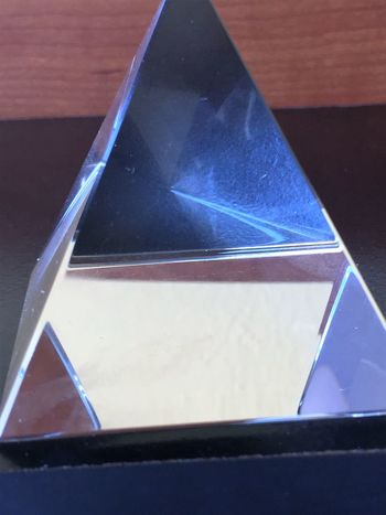 Glass Pyramid Close-up Day Glass Glass Pyramid Indoors  Light Light And Shadow No People Shapes