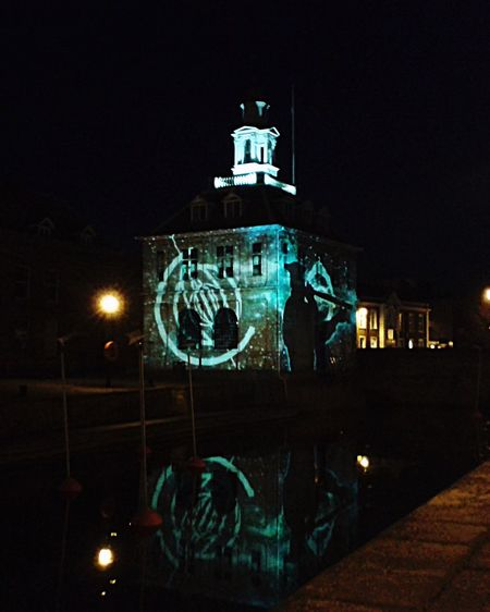 Learn & Shoot: After Dark King's Lynn Light Show Illuminated Night Nighttime History Historical Building Custom House Reflection Water Reflections Quay Lights Animation Night Photography Architecture