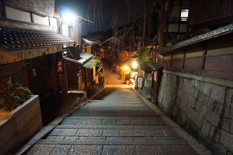 2017 Architecture Building Exterior Built Structure City Japan Japanese Culture Kiyomizu Kyoto Light Night Stairs Street 三年坂 京都 産寧坂