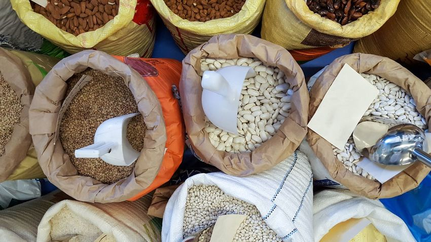 Ingredient Scoop Store Stall Shop Lefkada Greece Sacks Bags Powder Beans Pulses Close-up Food Market Retail  Variation No People Backgrounds Full Frame For Sale High Angle View