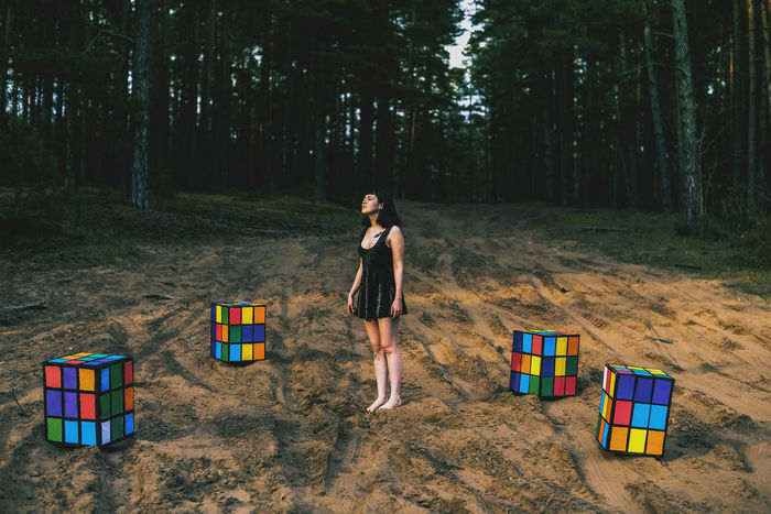 Colorful Colors Enjoyment Forest Girl Rubik's Cube Sand Standing Sunset Surealism Unreal Unrealistic Women