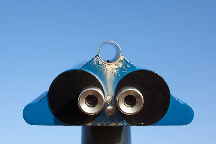 Blue Color Faces In Places Helgoland Sightseeing Weathered Blue Close-up Coin-operated Binoculars Geometric Telescope