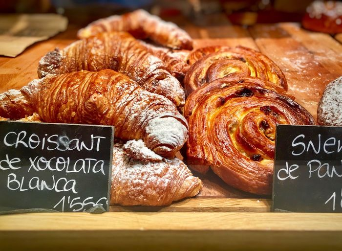 Food Food And Drink Croissant Still Life Text Freshness Baked French Food Indoors  No People Retail  Bakery Blackboard  Communication Price Tag Bread Day Close-up Ready-to-eat