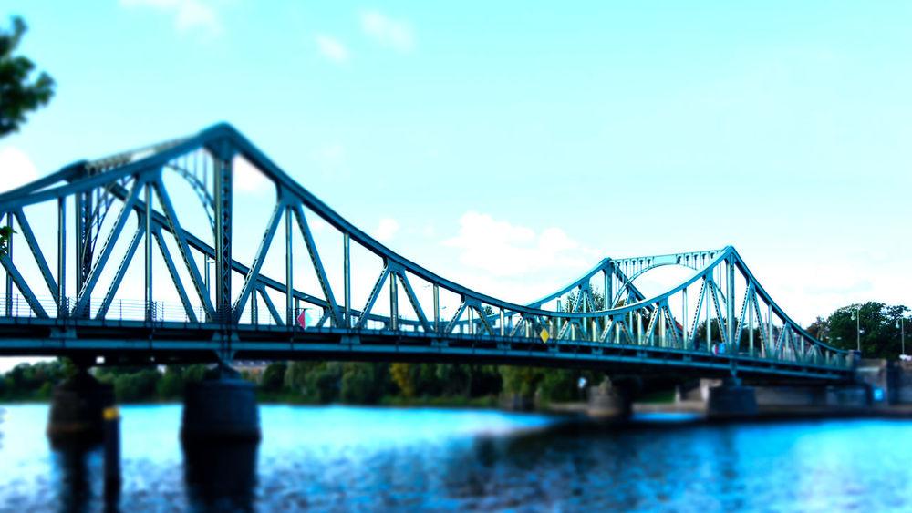 Bridge Brücke Fluss Glienicker Brücke Havel Illuminated Miniature Potsdam Reflection River Tilt-shift Water Zehlendorf
