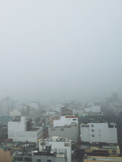 Buildings in foggy weather