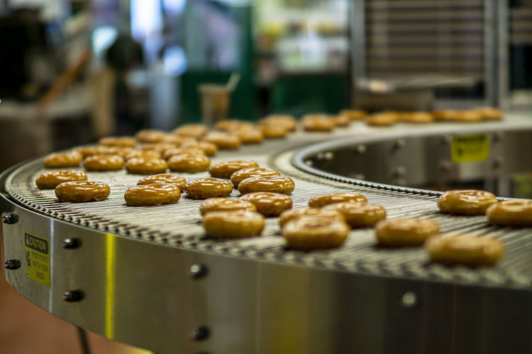 Close-up of donuts in store