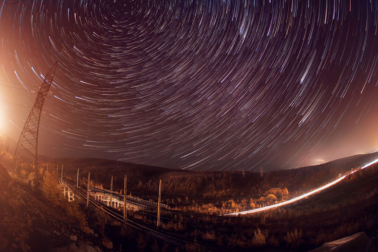 Star trails in