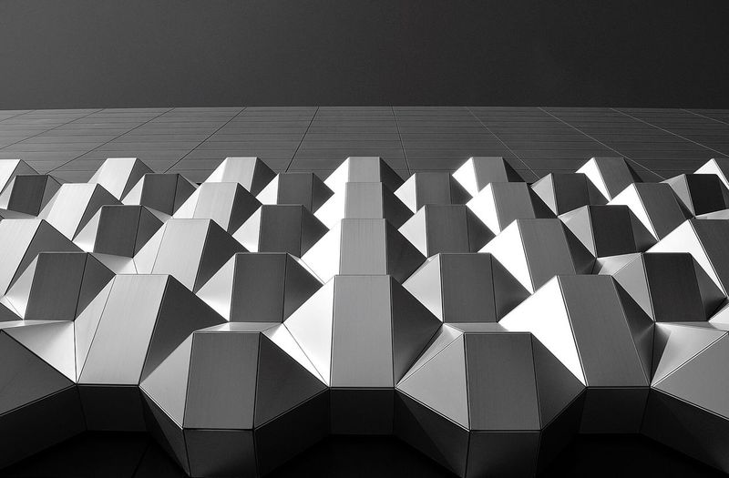 Polygonic. Pattern No People Architecture Modern Day Abstract Outdoors Facades Building House Monochrome Contrast Sky Blackandwhite Architectural Detail Details Sunny Light And Shadow Perspective