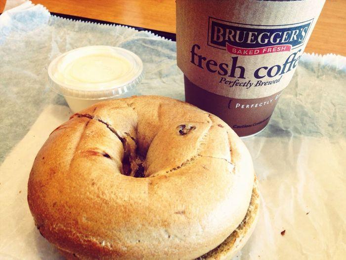 Breakfast Life's Simple Pleasures... Bagel And Coffee