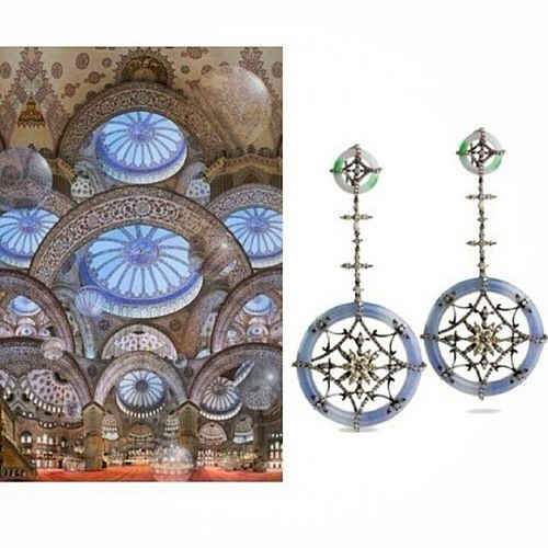 Turk mimarisinden esinlenilmis Bochic kupeler👏👏 Turkish Architecture inspired Beautiful @bochic Earrings !FineJewels LuxuryJewelry Magnificient Gorgeous Blue Mosque Turkey Stainedglass Mücevher Instafashion Fashioninsta Blogger Jewelryblog Turkinstagram Fashion Turkishfollowers Hautejoaillierie Highjewellery