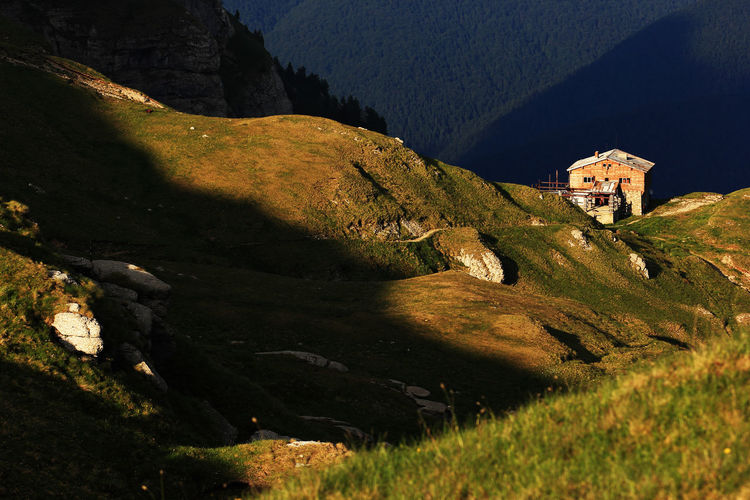 High angle view of chalet on mountain at bucegi natural park